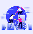 worker helping each other for business group vector image vector image
