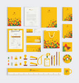 yellow corporate business stationery set template vector image vector image