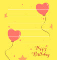 happy birthday greeting card with yellow vector image