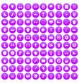 100 sport equipment icons set purple vector image vector image