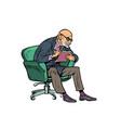 an elderly psychotherapist listens attentively vector image