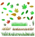 Autumn Leaves and Autumn Grass vector image vector image