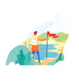 backpacker hiker traveller or explorer standing vector image