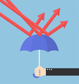 Businessman hand using umbrella to protect downtre vector image vector image