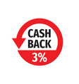 cash back 3 percent money refound - concept badge vector image vector image