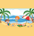 children at summer beach vector image
