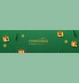christmas green banner with yellow gift boxes vector image vector image