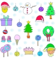 Christmas set object of doodle vector image vector image