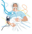 covid19-19 patient in hospital on a ventilator vector image vector image