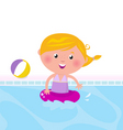 cute girl swimming in pool vector image vector image