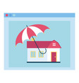 dwelling under opened umbrella insurance vector image