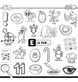 e is for educational task coloring book vector image vector image