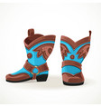 embroidered cowboy boots from brown and blue vector image