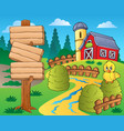 farm theme with red barn 1 vector image vector image