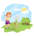 Girl painting outdoors vector image