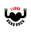 I love hard rock Hearts with hands raised up Rock vector image
