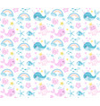 little whale unicorn seamless pattern modern vector image vector image