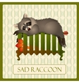 Lonely sad raccoon on the battery tru character vector image