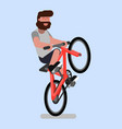 man rides a bicycle on one wheel vector image