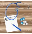 medical prescription a stethoscope pen vector image vector image