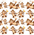 monkey on seamless pattern vector image vector image