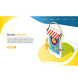 music online landing page website template vector image vector image
