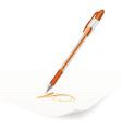 orange ballpoint pen vector image vector image