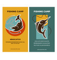 poster with two fish near rods emblems with text vector image vector image