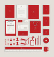 red corporate identity design template vector image