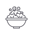 salad bowl line icon sign on vector image vector image