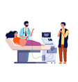 scanning pregnant woman couple husband and wife vector image