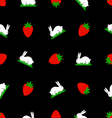 Seamless pattern white bunny and strawberries vector image