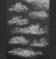 set clouds and smoke on transparent vector image vector image