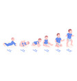 set infant boys growth stages for first year vector image