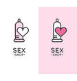 sex shop logo with condom and heart vector image vector image