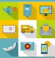 simple delivery icons set flat style vector image vector image