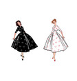 stylish fashion dressed girls 1950s 1960s style vector image