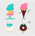 summer sweets color ice cream and donuts cake vector image