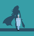 super woman doctor or nurse hospitals superhero vector image