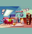 teen boy kid room at garret attic interior vector image vector image