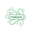 thin line probiotics or lactobacillus green icon vector image vector image