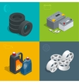 Tire service car auto repair icons flat 3d set vector image vector image