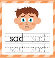 tracing practice worksheet - word sad learning vector image vector image