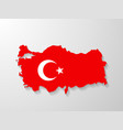 Turkey flag map with shadow effect vector image vector image