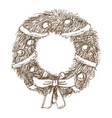 vintage engraving wreath bow balls christmas and vector image