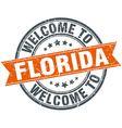 welcome to Florida orange round ribbon stamp vector image vector image