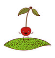 white background of cherry caricature with stem vector image vector image