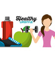 woman athletic lifting barbell apple sneaker and vector image vector image