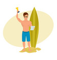 young surfer holds a letter and cup in the hands vector image vector image