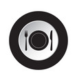 round black white button - cutlery with plate vector image